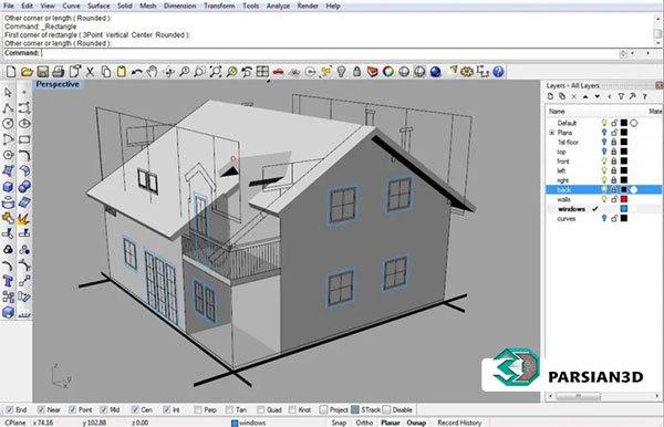 مدل سه بعدی معماری در نرم افزار